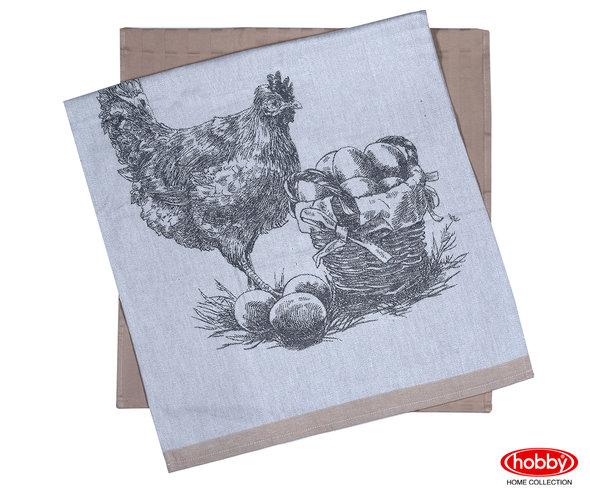 Набор кухонных полотенец Hobby Home Collection PRINT хлопок (hen, светло-коричневый) 50*70(2), фото, фотография