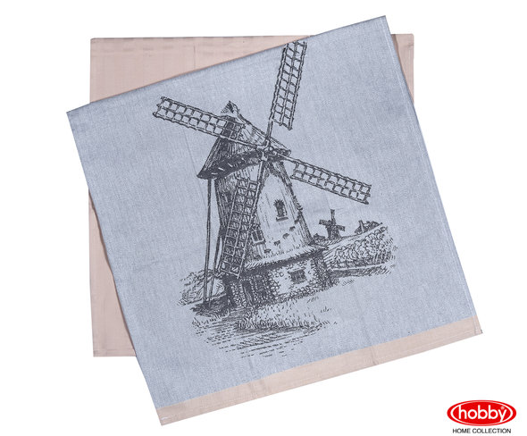 Набор кухонных полотенец Hobby Home Collection PRINT хлопок (mill, бежевый) 50*70(2), фото, фотография