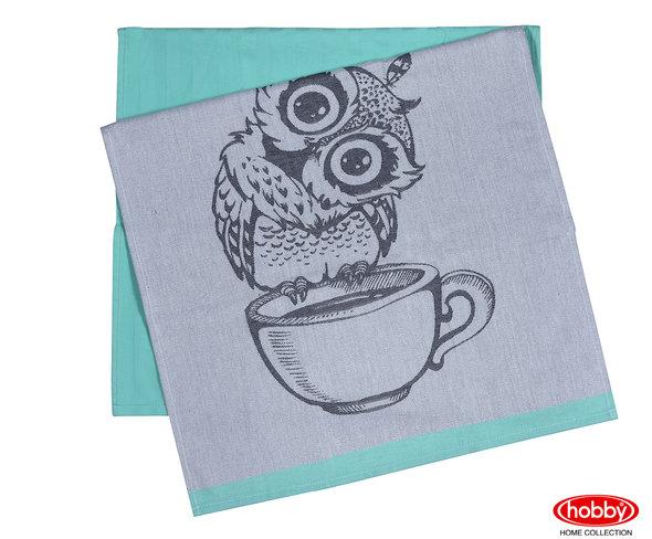 Набор кухонных полотенец Hobby Home Collection PRINT хлопок owl, минт 50х70 2 шт., фото, фотография