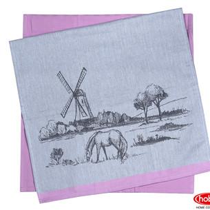 Набор кухонных полотенец Hobby Home Collection PRINT хлопок village, розовый 50х70 2 шт.