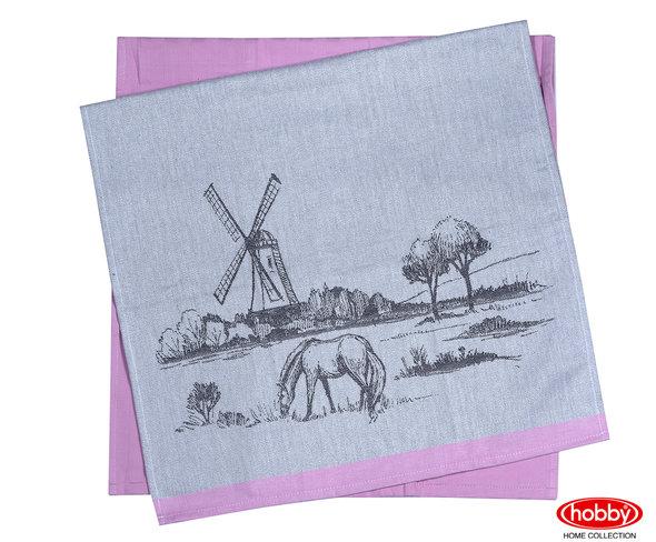 Набор кухонных полотенец Hobby Home Collection PRINT хлопок (village, розовый) 50*70(2), фото, фотография