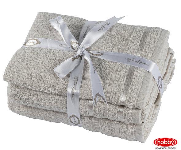 Набор полотенец для ванной 3 пр. Hobby Home Collection NISA хлопковая махра (бежевый), фото, фотография