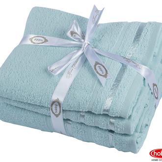 Набор полотенец для ванной 3 пр. Hobby Home Collection NISA хлопковая махра (бирюзово-зелёный)