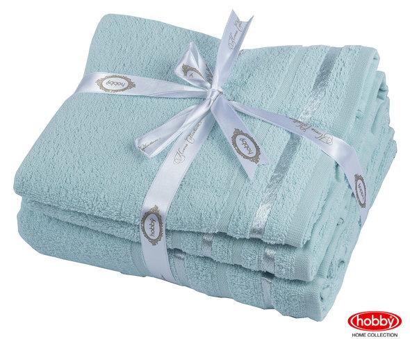 Набор полотенец для ванной 3 пр. Hobby Home Collection NISA хлопковая махра (бирюзово-зелёный), фото, фотография