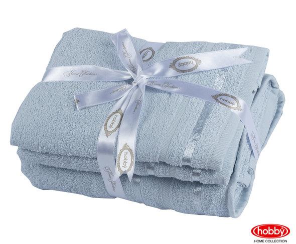 Набор полотенец для ванной 3 пр. Hobby Home Collection NISA хлопковая махра (голубой), фото, фотография