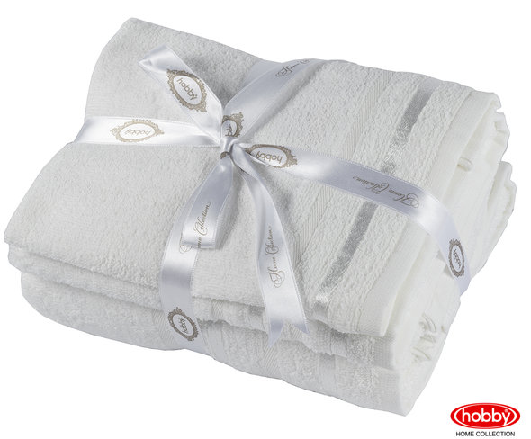 Набор полотенец для ванной 3 пр. Hobby Home Collection NISA хлопковая махра (молочный), фото, фотография