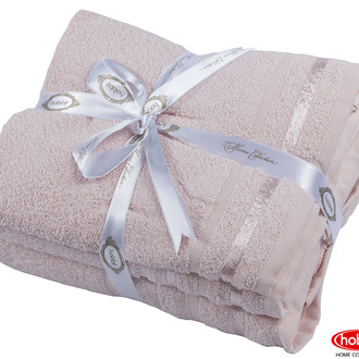 Набор полотенец для ванной 3 пр. Hobby Home Collection NISA хлопковая махра (пудра)