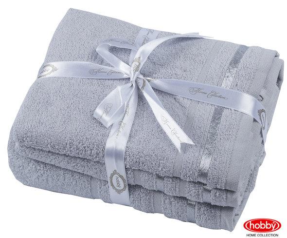 Набор полотенец для ванной 3 пр. Hobby Home Collection NISA хлопковая махра (светло-серый), фото, фотография