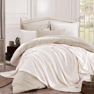 Постельное белье с покрывалом Hobby Home Collection NATURAL хлопковый поплин кремовый 1,5 спальный
