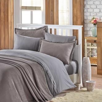 Постельное белье с покрывалом Hobby Home Collection NATURAL хлопковый поплин серый