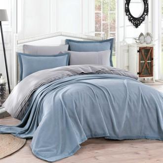 Постельное белье с покрывалом Hobby Home Collection NATURAL хлопковый поплин (синий)