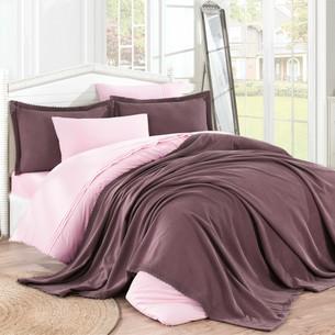 Постельное белье с покрывалом Hobby Home Collection NATURAL хлопковый поплин тёмно-розовый 1,5 спальный