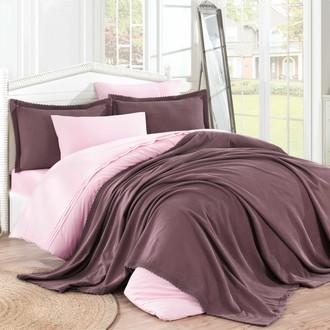 Комплект постельного белья с покрывалом Hobby Home Collection NATURAL хлопковый поплин (тёмно-розовый)