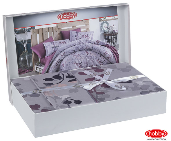 Постельное белье Hobby Home Collection IRMA хлопковый сатин лиловый евро, фото, фотография