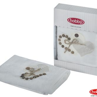 Полотенце для ванной в подарочной упаковке Hobby Home Collection FELISIA-TINA бамбуково-хлопковая махра белый