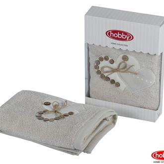 Полотенце для ванной в подарочной упаковке Hobby Home Collection FELISIA-TINA бамбуково-хлопковая махра светло-бежевый