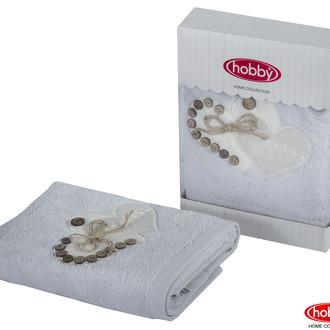 Полотенце для ванной в подарочной упаковке Hobby Home Collection FELISIA-TINA бамбуково-хлопковая махра светло-серый