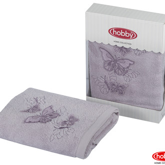 Полотенце для ванной в подарочной упаковке Hobby Home Collection GULNIHAL-BAHAR бамбуково-хлопковая махра лиловый