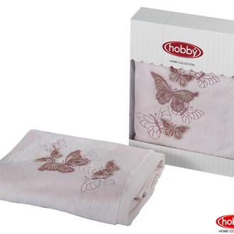 Полотенце для ванной в подарочной упаковке Hobby Home Collection GULNIHAL-BAHAR бамбуково-хлопковая махра розовый