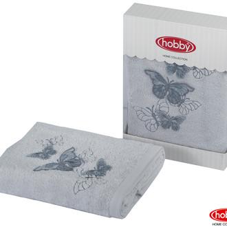 Полотенце для ванной в подарочной упаковке Hobby Home Collection GULNIHAL-BAHAR бамбуково-хлопковая махра светло-серый