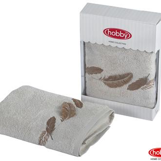 Полотенце для ванной в подарочной упаковке Hobby Home Collection GULNIHAL-GUZ бамбуково-хлопковая махра светло-серый