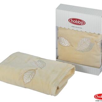 Полотенце для ванной в подарочной упаковке Hobby Home Collection LEYDI-ANNA хлопковая махра (жёлтый)