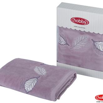 Полотенце для ванной в подарочной упаковке Hobby Home Collection LEYDI-ANNA хлопковая махра лиловый