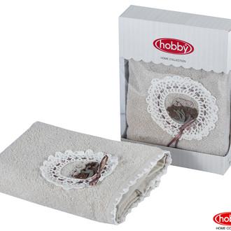 Полотенце для ванной в подарочной упаковке Hobby Home Collection ROMANTIC хлопковая махра светло-бежевый