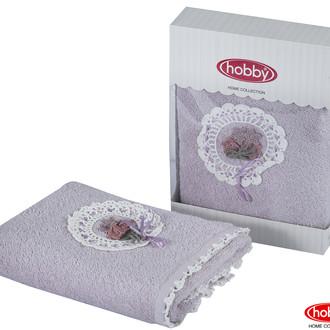 Полотенце для ванной в подарочной упаковке Hobby Home Collection ROMANTIC хлопковая махра лиловый