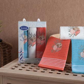 Набор кухонных полотенец 40*60(3) Karna MIDLE хлопковая вафля (V3)