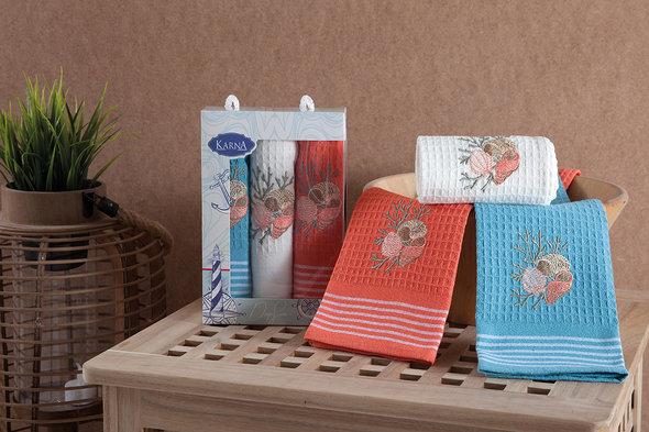 Набор кухонных полотенец 40*60 3 шт. Karna MIDLE хлопковая вафля V3, фото, фотография