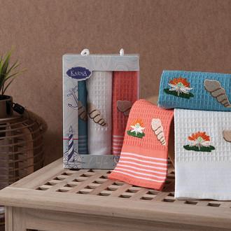 Набор кухонных полотенец 40*60 3 шт. Karna MIDLE хлопковая вафля V1