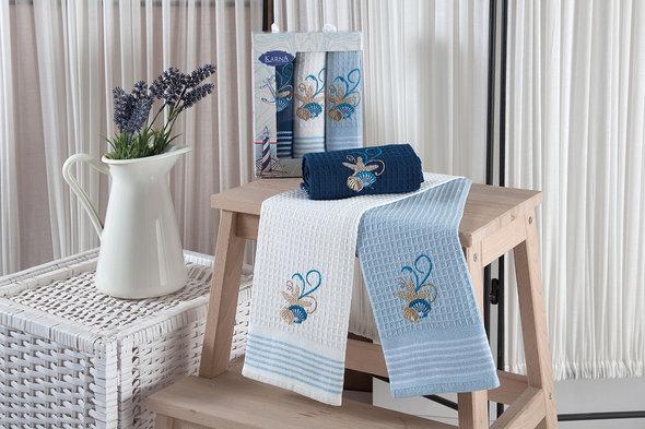 Набор кухонных полотенец 40*60(3) Karna MARINE хлопковая вафля (V3), фото, фотография