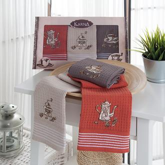 Набор кухонных полотенец 40*60(3) Karna SIOUS хлопковая вафля