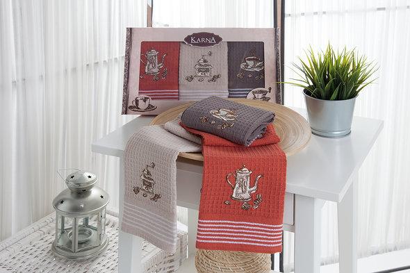 Набор кухонных полотенец 40*60 3 шт. Karna SIOUS хлопковая вафля, фото, фотография