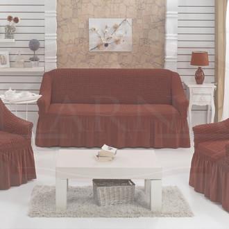 Набор чехлов на трёхместный диван и кресла (2 шт.) Bulsan EVERY (кирпичный)
