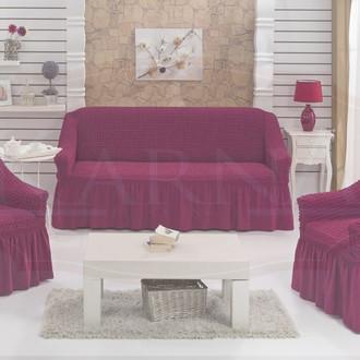 Набор чехлов на трёхместный диван и кресла (2 шт.) Bulsan EVERY (фуксия)