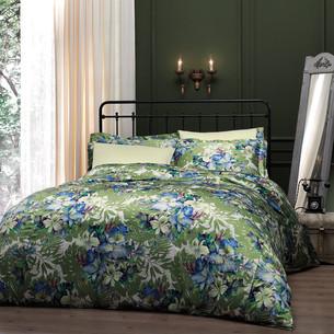 Постельное белье Tivolyo Home VITTA сатин, жатый шёлк зелёный семейный