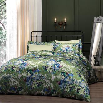 Комплект постельного белья Tivolyo Home VITTA сатин, жатый шёлк (зелёный)