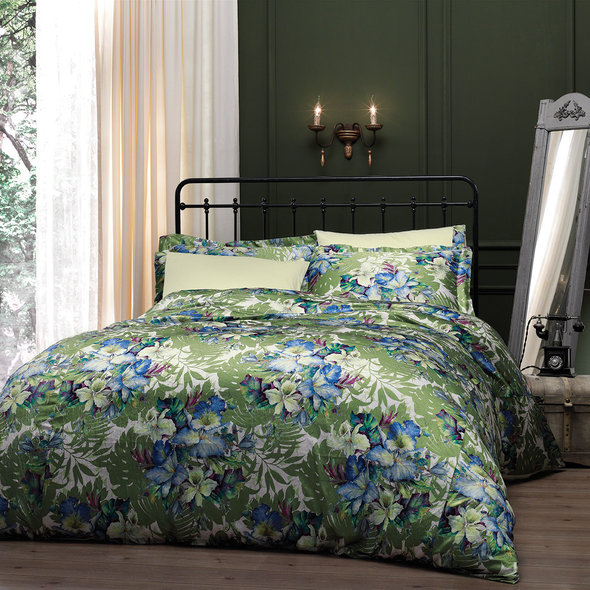 Комплект постельного белья Tivolyo Home VITTA сатин, жатый шёлк (зелёный) семейный, фото, фотография