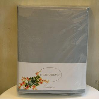 Простынь на резинке с наволочками Tivolyo Home хлопковый сатин делюкс серый