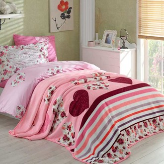 Комплект подросткового постельного белья с покрывалом Hobby Home Collection BELLA хлопковый поплин лиловый