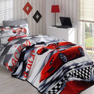 Комплект подросткового постельного белья с покрывалом Hobby Home Collection X-RACING хлопковый поплин (красный)