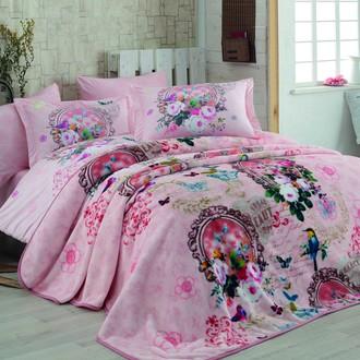 Комплект постельного белья с покрывалом Hobby Home Collection SEREFINA хлопковый поплин (персиковый)