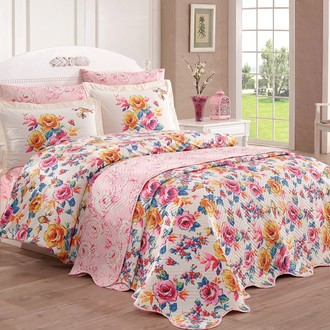 Комплект постельного белья со стёганым покрывалом Hobby Home Collection ALESSIA хлопковый поплин (розовый)