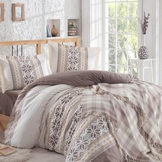 Комплект постельного белья со вязаным пледом-покрывалом Hobby Home Collection CARLA хлопковый поплин (коричневый)