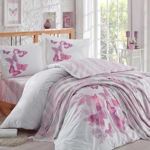 Постельное белье со вязаным пледом-покрывалом Hobby Home Collection SUENO хлопковый поплин лиловый евро