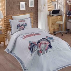 Комплект подросткового постельного белья с покрывалом Hobby Home Collection LE-MAN хлопковый сатин 1,5 спальный