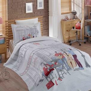 Комплект подросткового постельного белья с покрывалом Hobby Home Collection MARSELE хлопковый сатин 1,5 спальный