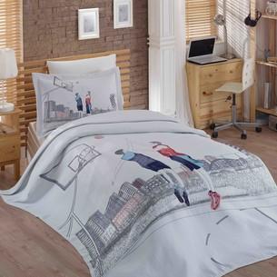 Комплект подросткового постельного белья с покрывалом Hobby Home Collection SAN-DIEGO хлопковый сатин 1,5 спальный